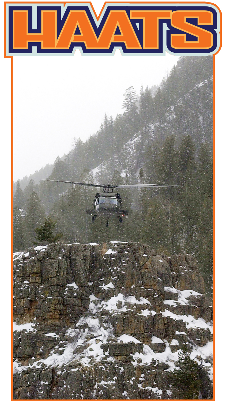 Image with HAATS title and helicopter flying in snow covered mountains.